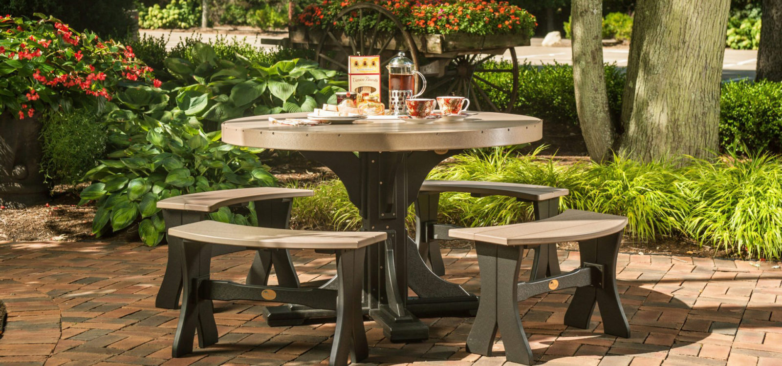 patio table Round Table Set with Benches Weatherwood Black
